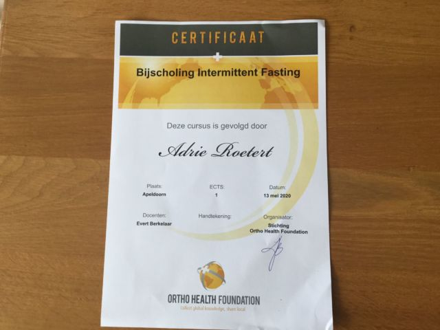 Certificaat Intermittend Fasting